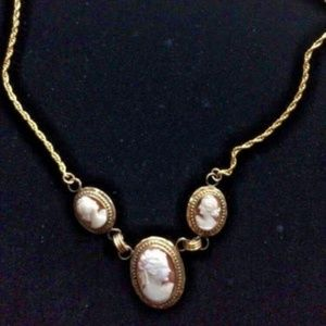 Vintage 3 Carved Cameo Shell Necklace 1/20 12kgf
